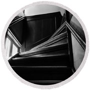 Round Beach Towel featuring the photograph Stairway In Amsterdam Bw by RicardMN Photography