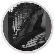 Stairway Lll Black And White Round Beach Towel