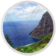 Round Beach Towel featuring the photograph Stairway To Heaven View, Pitons, St. Lucia by Kurt Van Wagner