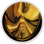 Stairwell Distorted Round Beach Towel