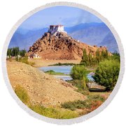 Round Beach Towel featuring the photograph Stakna Monastery by Alexey Stiop