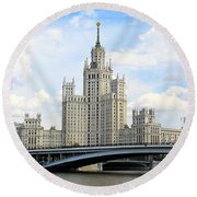 Kotelnicheskaya Embankment Building Round Beach Towel