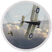 Round Beach Towel featuring the digital art Stalked - Se5 And Albatros Dlll by Pat Speirs