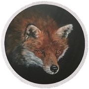Red Fox In Stalking Mode Round Beach Towel by Jean Walker