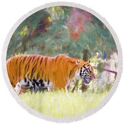 Round Beach Towel featuring the painting Stalking Tiger by Judy Kay