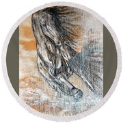Round Beach Towel featuring the painting Stallion Fury by Jennifer Godshalk