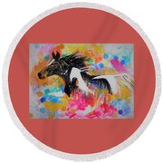 Stallion In Abstract Round Beach Towel