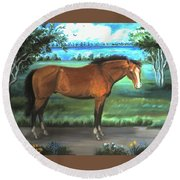 Round Beach Towel featuring the painting Stallion Portrait by Dawn Senior-Trask