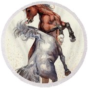 Round Beach Towel featuring the painting Stallion Showdown by Margaret Stockdale