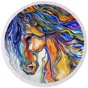Stallion Southwest By M Baldwin Round Beach Towel
