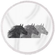 Round Beach Towel featuring the drawing Stallions Shades by Nick Gustafson