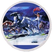 Stampede By Moonlight Round Beach Towel