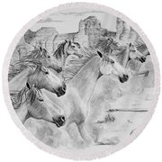 Stampede In Sedona Round Beach Towel