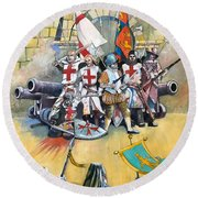 Stand Off At Cuvre Port Round Beach Towel