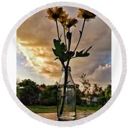 Stand Still Flowers Round Beach Towel by Loly Lucious