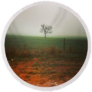 Standing Alone, A Lone Tree In The Fog. Round Beach Towel