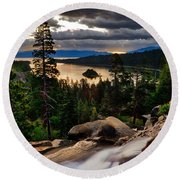 Standing At Eagle Falls Round Beach Towel