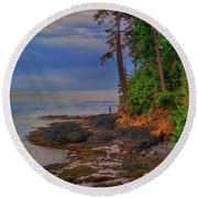 Standing By The Sea Round Beach Towel