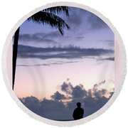 Standing In The Morning Light  Round Beach Towel