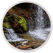 Standing In Motion - Brasstown Falls 011 Round Beach Towel by George Bostian