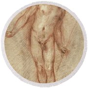 Standing Male Nude Round Beach Towel