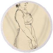 Standing Woman Round Beach Towel
