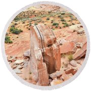 Round Beach Towel featuring the photograph Standup Sandstone In Valley Of Fire by Ray Mathis