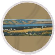 Round Beach Towel featuring the painting Stanford By The Bay by Gary Coleman