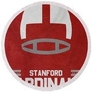 Stanford Cardinals Vintage Football Art Round Beach Towel