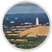 Round Beach Towel featuring the painting Stanford From Hills by Gary Coleman