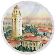 Stanford University California Round Beach Towel by Melly Terpening