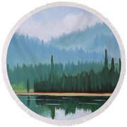 Stanley Lake - Far Shore Round Beach Towel