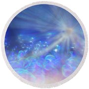 Round Beach Towel featuring the photograph Star And Bubbles by Greg Collins