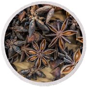 Star Anise Round Beach Towel by Sabine Edrissi