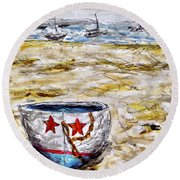 Star Boat Round Beach Towel