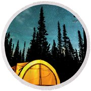 Round Beach Towel featuring the photograph Star Camping by James BO Insogna