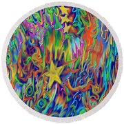 Round Beach Towel featuring the painting Star E Nite by Kevin Caudill