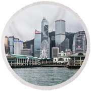 Star Ferry Building Terminal In The Central Business District Of Round Beach Towel