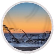Star Jet Roller Coaster Ride  Round Beach Towel by Michael Ver Sprill