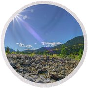 Star Over Creek Bed Rocky Mountain National Park Colorado Round Beach Towel