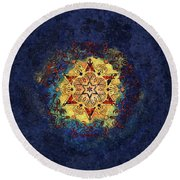 Star Shine Blue And Gold Round Beach Towel