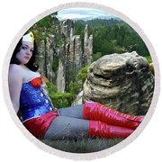 Star Spangled Wonder Girl Round Beach Towel