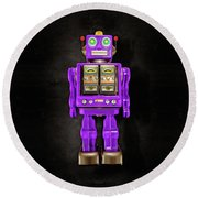 Round Beach Towel featuring the photograph Star Strider Robot Purple On Black by YoPedro
