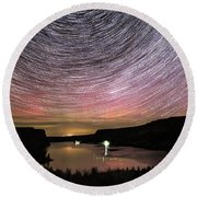 Round Beach Towel featuring the photograph Star Trails And Aurora At Billy Chinook by Cat Connor