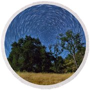 Star Trails Around Polaris Round Beach Towel