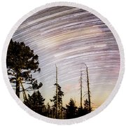 Star Trails At Fort Grant Round Beach Towel