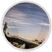 Star Trails By Fort Grant Round Beach Towel