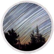Star Trails From Mt. Graham Round Beach Towel