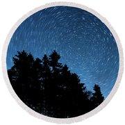 Star Trails In Acadia Round Beach Towel