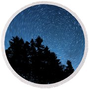 Star Trails In Acadia Round Beach Towel